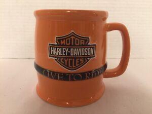 EUC-Harley-Davidson-Cup-Live-To-Ride-Mug-Orange-16-oz-Russ-Berrie-2009