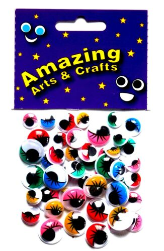 Eyes Self Adhesive Wiggle Wiggly Googly Sticky with Eyelashes 50 asst size /& col