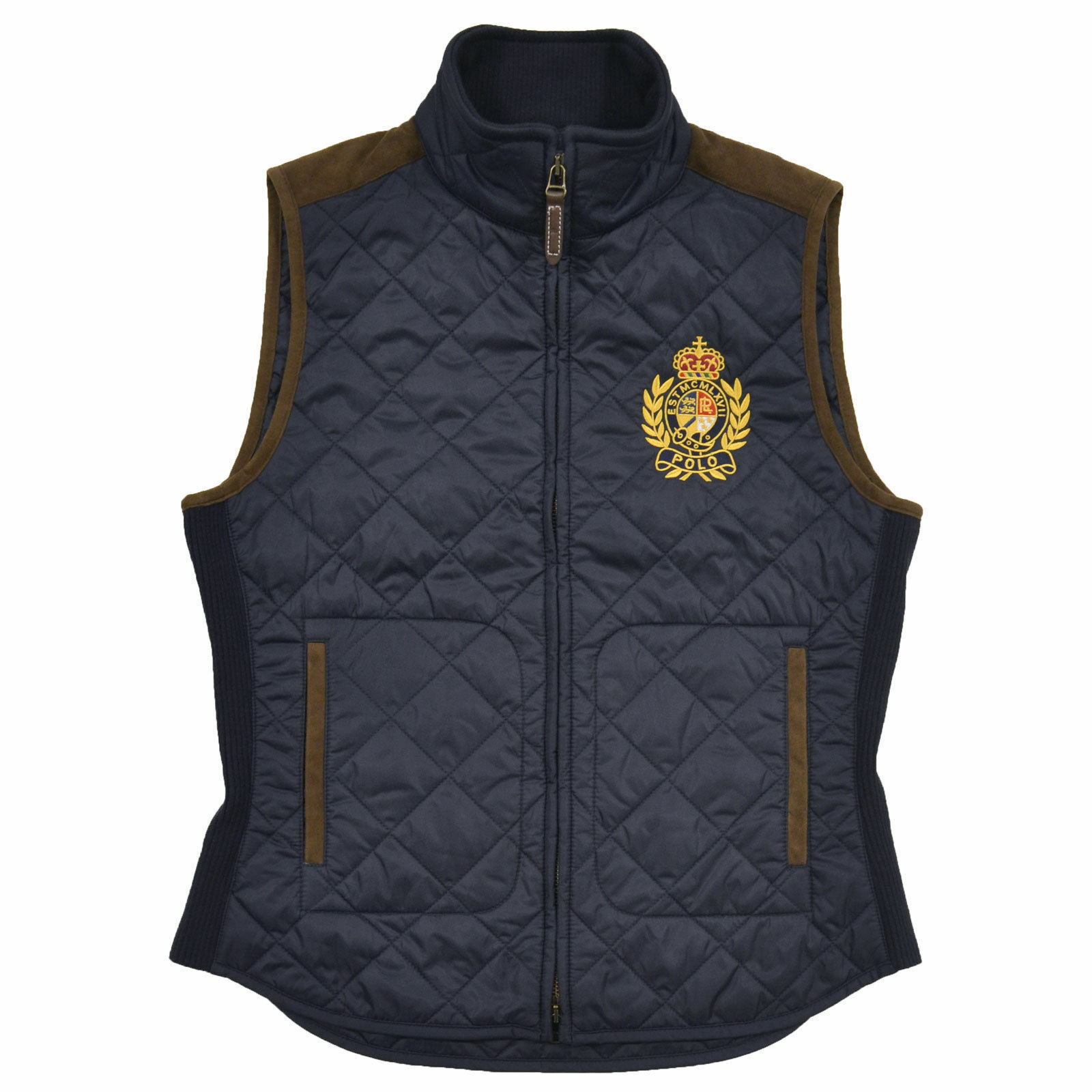 NWT  Ralph Lauren Women's Polo Crest Quilted Puffer Vest in Navy bluee