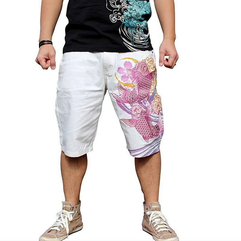Mens Summer Shorts Capri Cotton Jeans Denim Japanese Pattern Embroidery Carp Koi