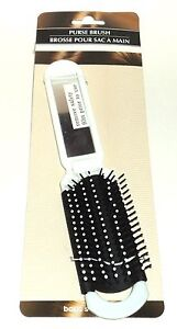 Basic-Solutions-Folding-WHITE-Purse-Brush-With-Mirror-Great-For-Travel-New-Card
