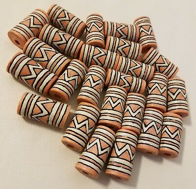 25 Brown Tribal Resin Faux Natural Clay Macrame Craft Jewelry Beads 24mm Tube