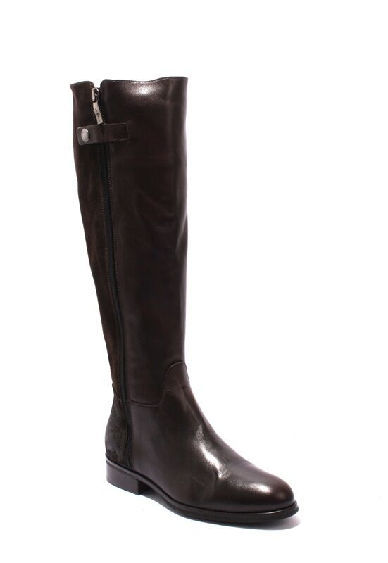 Mally 5483 Brown / Leather / Suede Knee-High Zip-Up Riding Boots 36 / US 6