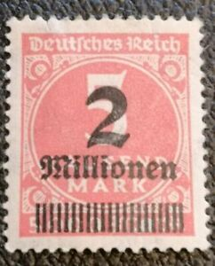 Weimar-Republic-German-Empire-1923-Overprinted-Stamp-2mill-5-mark-MLH-cdd7k