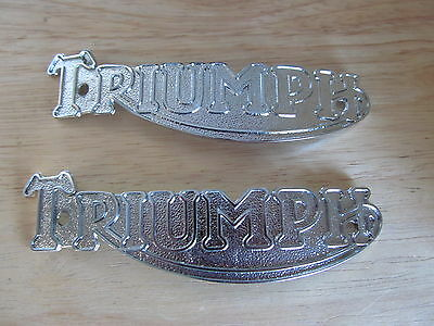 82-1823 1938-58 TRIUMPH PRE UNIT 3T 5T 6T T20 T100 T120 CHROME TANK BADGE (PR)