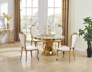 257e3ca87480 Image is loading ELEGANT-STUNNING-NIRVANA-GOLD-DINING-TABLE-MARBLE-FURNITURE -