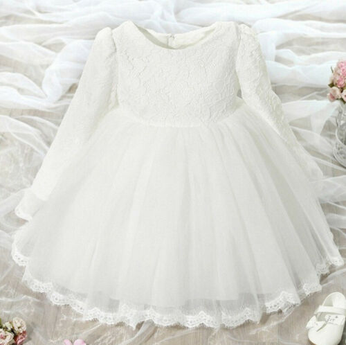 Kids Baby Girl Long Sleeve Lace Pageant Wedding Party Princess Tutu Dress T
