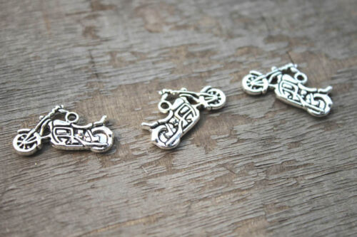 20pcs Motorcycle Charms Pendants Antiqued Silver Double Sided 24 x 15 mm