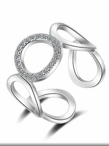 Círculo De Plata 925 Diamanté amor uno de tamaño ajustable Ring Joyería Presente Regalo