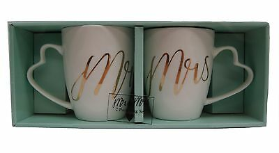 Mr & (and) Mrs 2 Pack Mug Cup Set - White with Gold Writing
