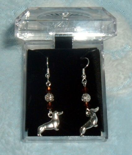 "/""DASH HOUND DOGS/"" DACHSHUND W//CRYSTALS EARRINGS POST HOOKS BOX"