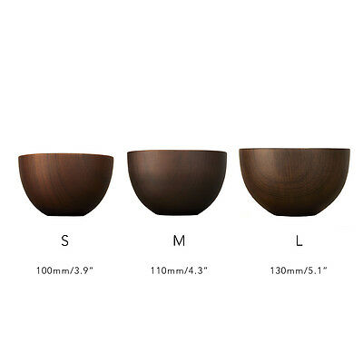 Homestia Handmade Wood Bowls Round Brown Eating Salad Rice Kids Dining Bowl NEW