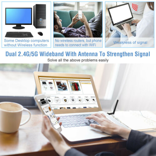 Dual Band 600Mbps Wireless USB WiFi Network Adapter w//Antenna 802.11AC 2.4//5Ghz
