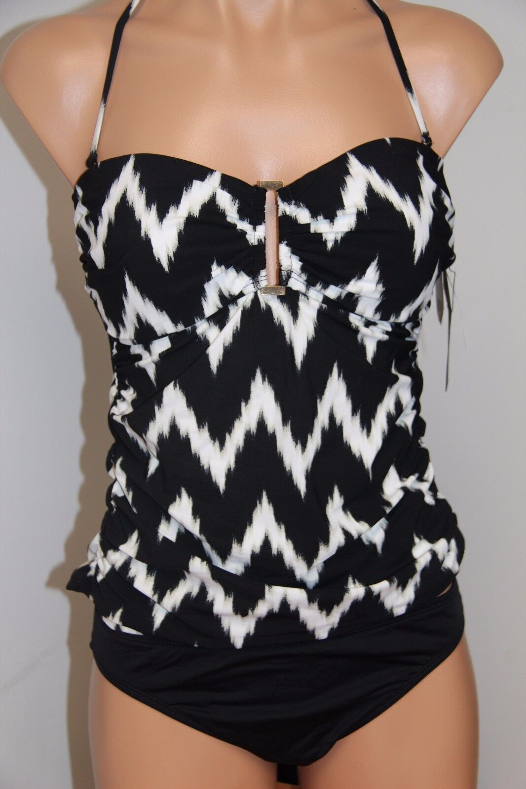 New La whitea Swimsuit Bikini Tankini 2 pc set Sz 6 BLK White Bassic Bandeau