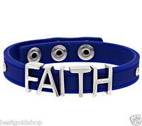 Qvc Faith Silicone Adjustable Bracelet Cobalt Color Stainless Steel