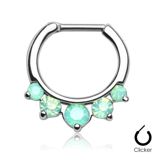1 Pc 16G 316L Surgical Steel Prong Set Green Opalites Septum Clicker