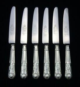 6-HEAVY-VINTAGE-SILVER-PLATED-KINGS-PATTERN-DESSERT-KNIVES-8-5-034-SHEFFIELD-EPNS