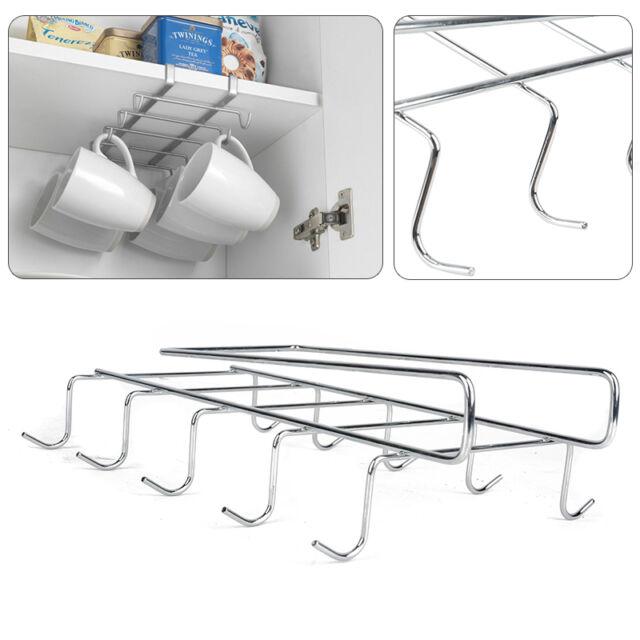 10 Hook Cup Holder Rack Cupboard Hanging Hook Shelf Dish Hanger Kitchen Bathroom