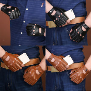 59a26e40f Image is loading Men-Women-Goth-Thin-Faux-Leather-Fingerless-Driving-