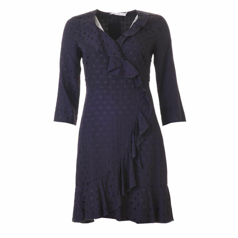 GESTUZ Kleid Marineblau Gepunktet Rüschen Vorne Größe 34/UK 6 Se 540