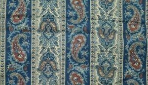 Vintage Schwartz Liebman Paisley Fabric Brown Blue Burgundy Floral Stripe 45x160