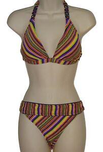 Lucky-Brand-swimsuit-bikini-set-size-S-multi-color-striped-halter-nwt