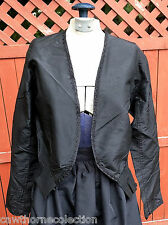 Antique 1890s Black Taffeta Bodice Jacket Lining Embroidered Blouse Victorian L