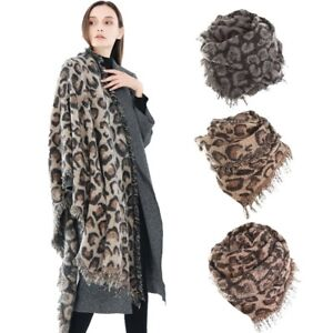 42101d39ac2f1 Image is loading Womens-Long-Leopard-Animal-Print-Cashmere-Pashmina-Blanket-