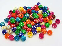100 x 10mm Mix Round Wooden Flower Dot Beads Jewellery Kids Children Q59