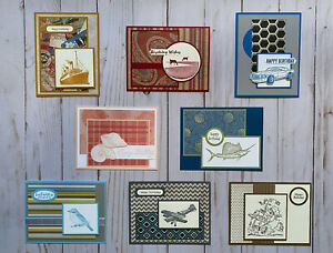 8-Handmade-Men-039-s-Birthday-greeting-cards-envelopes-Stampin-039-Up-more
