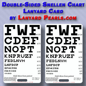 Details about Pocket Snellen Chart - Doubled sided - visual acuity chart -  Medical, nursing