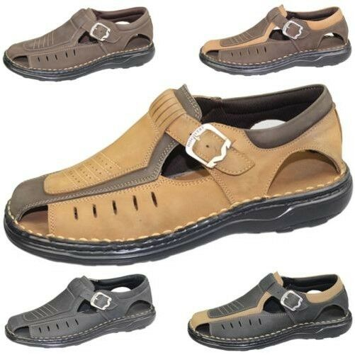 Mens Beach Buckle Sandals Walking Fashion Casual Summer Beach Mens Leather Wide Fit Shoes 5c016f