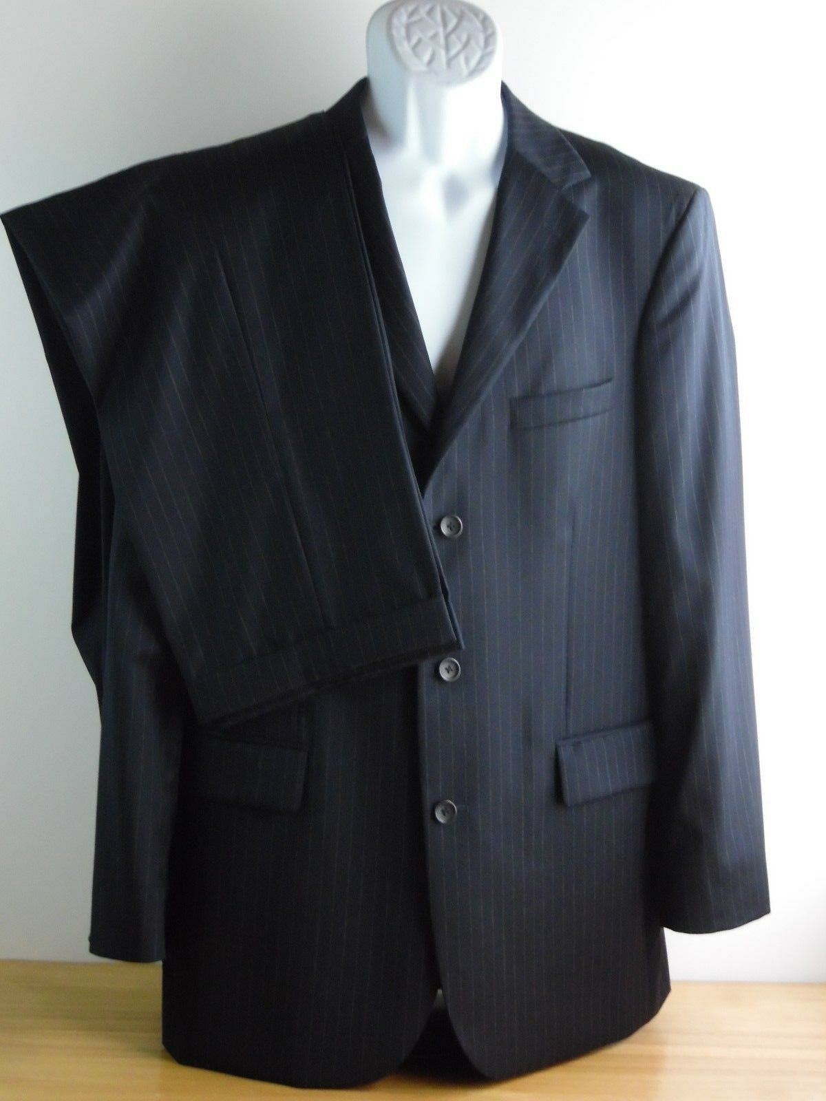 Mens 44L J CREW blueE  PINSTRIPE 2 peace SUIT 36x30 dress formal suite