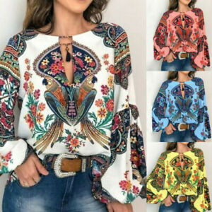 Women-Boho-Floral-V-Neck-Long-Lantern-Sleeve-Oversize-Blouse-T-Shirt-Tops