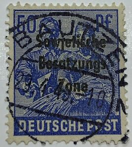 SOVIET OCCUPATION OVPT GERMANY STAMP #10N13 WITH 1949 BAUTZEN GERMANY SON CANCEL
