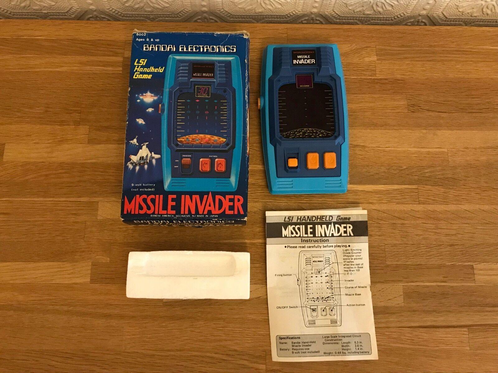Super Boxed Bandai Missile Invader Vintage 1980 Handheld LSI LED Electronic Game