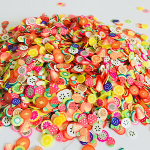 50pcs Colorful Polymer Clay Sliced Fruit Piece Flatback Beads Kids