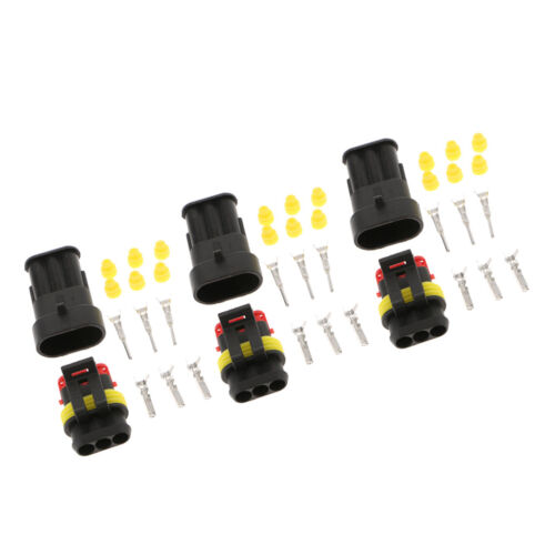 3 Kit Car Waterproof Electrical Connector Plug with Wire AWG Marine