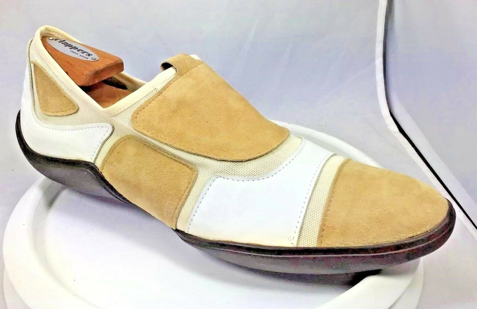 NEW MEN Vittorio Virgili WHITE LEATHER TAN-SUEDE DRIVING SHOES ITALY SZ 8