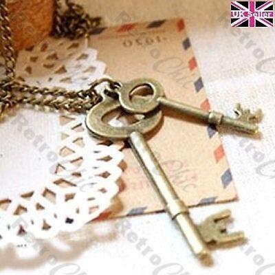 VINTAGE BRASS SET OF KEYS long chain RETRO NECKLACE key pendant ANTIQUE STYLE