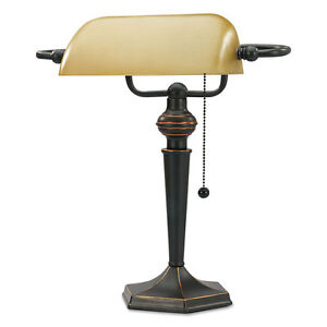 Alera-Traditional-Banker-039-s-Lamp-16-034-High-Amber-Shade-with-Antique-Bronze-Base