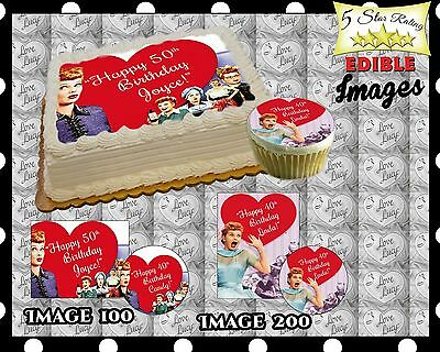 I Love Lucy Birthday Cake topper Edible Icing Image Photo ...
