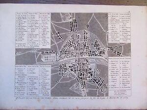 GRAVURE-1839-PARIS-PLAN-DE-LA-VILLE-SOUS-HENRI-III-AU-XVIeme-SIECLE