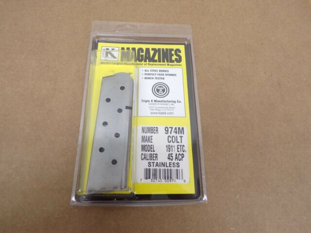 Colt Style 1911 Government Magazine - Stainless - by Triple K #974M