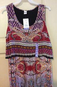 New-Women-039-s-Dress-Red-Paisley-Empire-Long-Sleeveless-68-XXL-2X-1X-Flattering