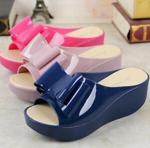 60e19ab85d65 Women Jelly Bowknot Slipper High Wedge Heel Platform Creeper Sandals ...