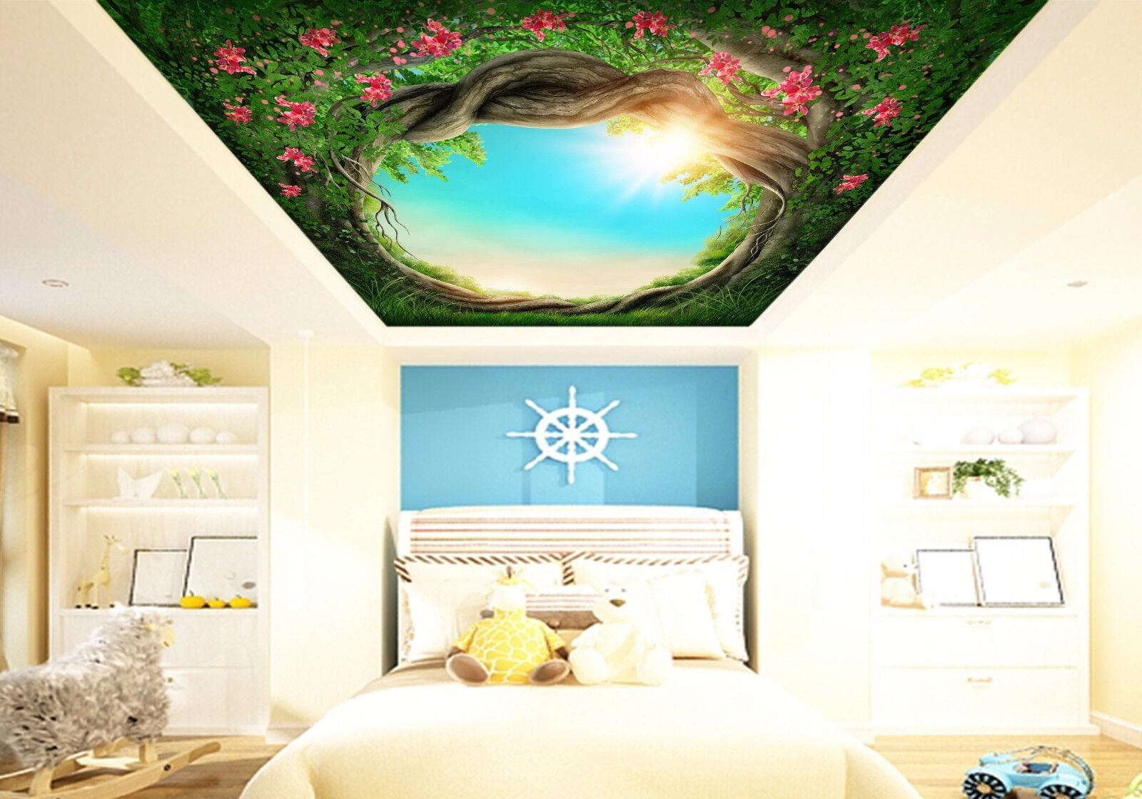 3D Sun Tree Hole Flowers 42 Ceiling Wall Paper Print Wall Indoor Wall Murals CA