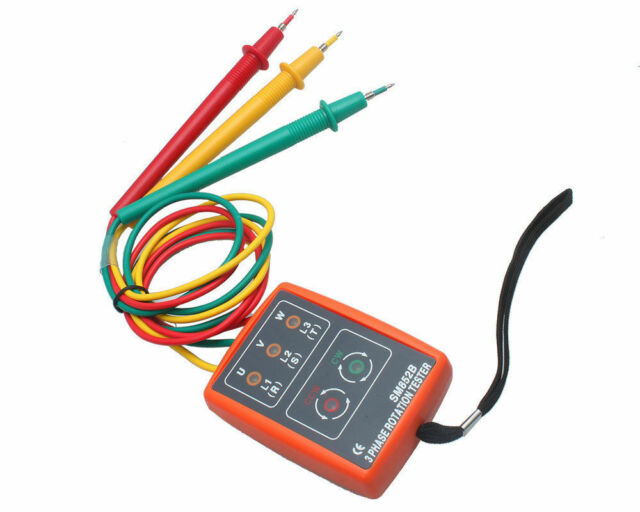 SM852B 3 Phase Sequence Rotation Tester LED Indicator Detector Checker Meter ET5