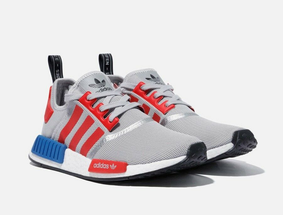 Adidas NMD R1 Micropacer F99714 Grey  Red  bluee, Unisex shoes Athletic Sneakers