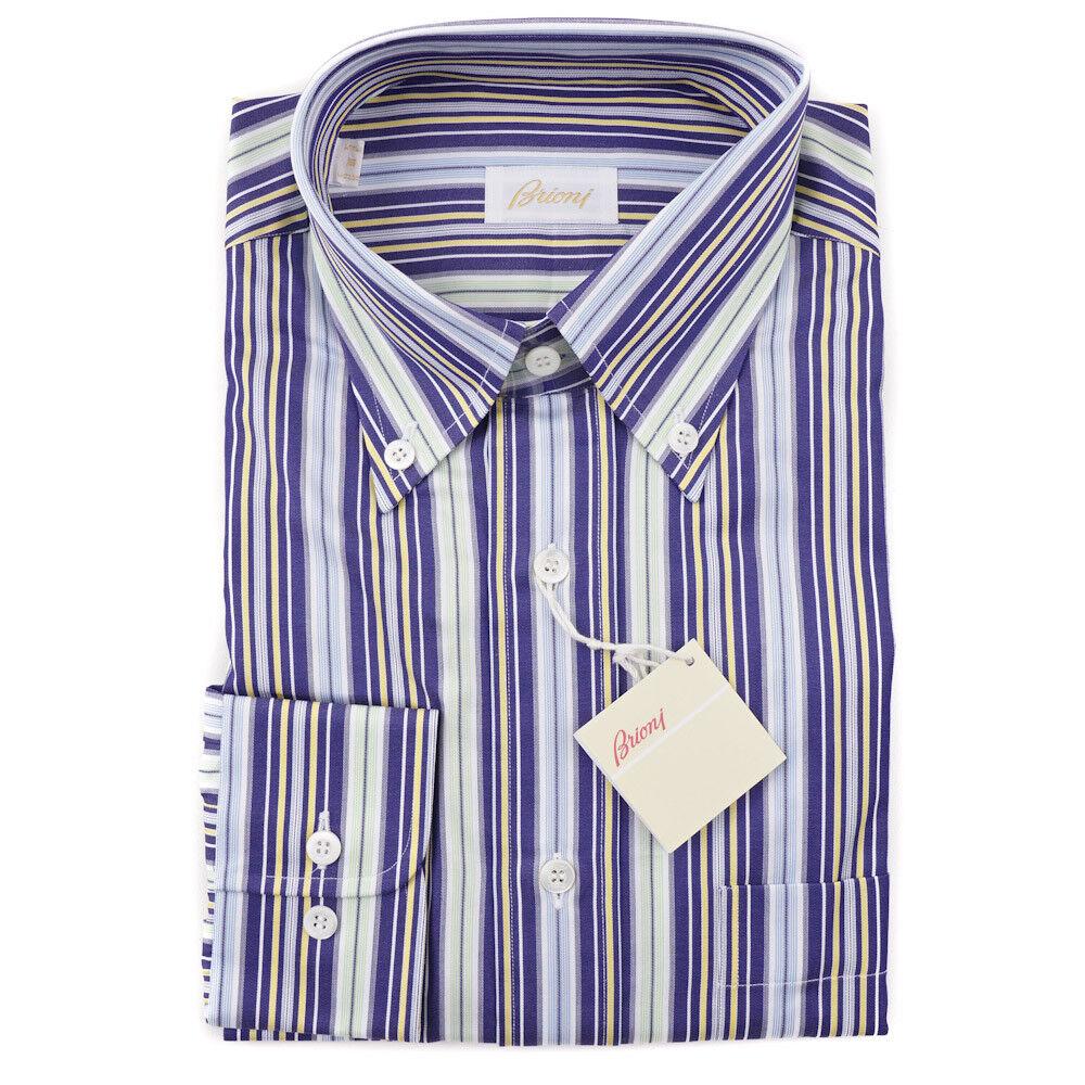 NWT  BRIONI Royal Purple-Mint Green Stripe Button-Front Cotton Shirt L (III)